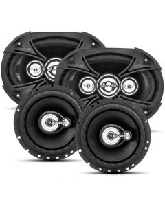 "Bravox Easy Black - 4 way 6""x9"" pair + 3 way  6"" pair - 380 Watts RMS Car Speakers Kit"