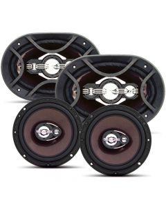 "Bravox Easy Premium - 4 way 6""x9"" pair + 4 way  6"" pair - 300 Watts RMS Car Speakers Kit"