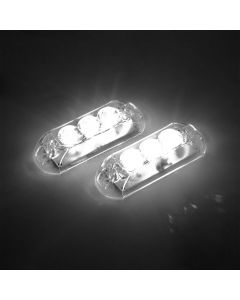 AJK Black LED White Car Strobo Headlights
