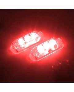 AJK Black LED Red Car Strobo Headlights
